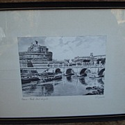 Vintage Black & White Italian Silk Screen Print - Artist Signed