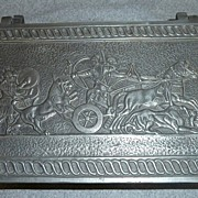 Greek Theme Solid Pewter Vintage Vanity Box
