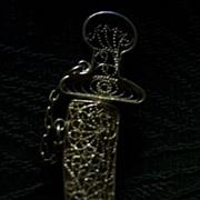 Vintage Sterling Filigree Saber/Dagger Pin/Brooch