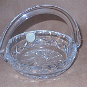 Cut Crystal Glass Basket - Blown/Applied Handle