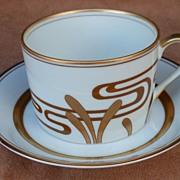 """Fitz & Floyd  """" Golden Heron """" Cup & Saucer"""