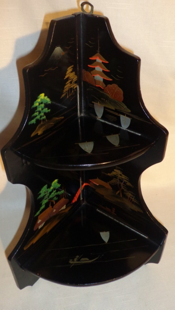 Asian Black Lacquer Two Tier Fold Out Corner Shelf