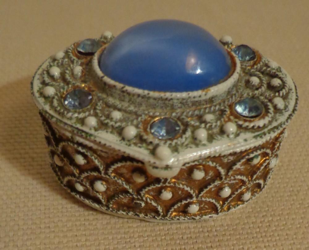 Florenza Blue Moon Stone & Rhine Stone Vintage Pill Box