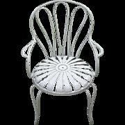 Carre Sunburst/Pin Wheel Rare Iron Garden Chair art deco french