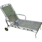 Russel Woodard Vintage Wrought Iron Patio Chaise Lounge