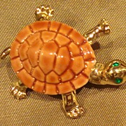 Vintage Gold-Tone Turtle Pin