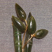 Vintage Hand Carved Jade Pin