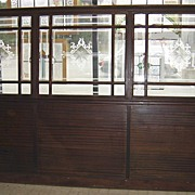 Architectural Wood & Glass Antique Bar Wall Divider