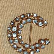 Vintage Czechoslovakia Crescent Moon Brooch -Blue Stones