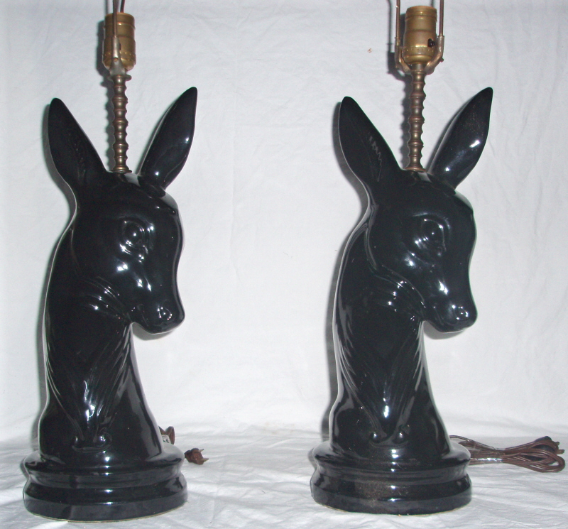 Vintage 1950's Black Animal Pair of Lamps