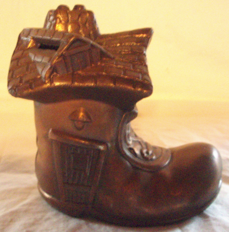 Nursery Rhyme Cast Metal Bank The Little Old Lady Who Lived in a Shoe