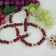 Wine Red Carnelian Necklace With Imported Polish Design Pendant
