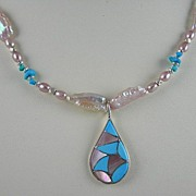 Necklace With Handmade Pink Mussel And Turquoise Native American Pendant And Matching Earrings
