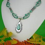 Turquoise And Semi-Precious Chinese Jade Set