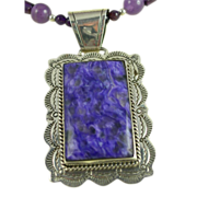 Charoite Pendant, Necklace And Earring Set