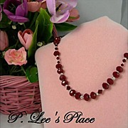 Elegant Ruby Red Chinese Crystal Bead Necklace With Matching Earrings
