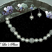 Faux Silver Glass Pearl Necklace With Matching Earrings