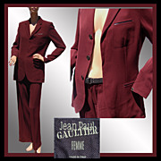 Vintage Jean-Paul Gaultier Femme Suit // Maroon Jacket & Pants Ladies Size 8 M Medium