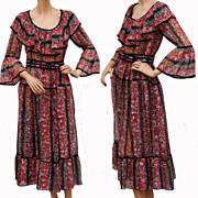 Vintage 1970s Dress // Sheer Nylon Voile Floral Print