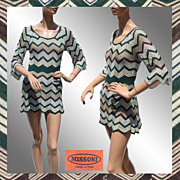 Vintage Missoni Knit Dress // Sweater Top Mini Dress Silk & Wool Ladies Size M Medium