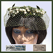 Vintage 50s Mr John Hat // Demi Chapeau 1950s Whimsy White Berries & Green Netting Abercrombie & Fitch Ladies Size S / M