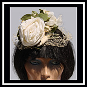 Vintage 50s Fascinator Hat // White Rose 1950s Ladies Size S / M / L