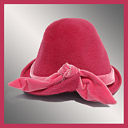 Vintage 1950s Felt Hat with Pink Velvet Bow Made in France Ladies Size S