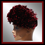 Vintage 50s Red Feather Hat // French Dyed Black & Red with Velvet Ladies Size M / L