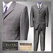 Vintage 50s Rockabilly Sharkskin Mens Suit // 1958 Elite by New Yorker Gray Size M / Medium