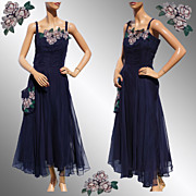 Vintage 1940s Blue Chiffon Dress Hand Painted Flower -  L