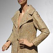 Vintage 1960s Wool Coat Gold Lame & Wool  Hollywood Glamour Size Medium