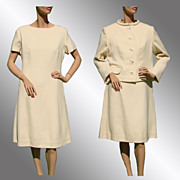 Vintage 60s White Dress w Jacket // 1960s Off-White Woven Wool Crepe Ladies Size Large