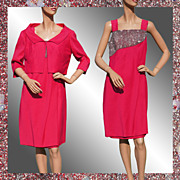 Vintage 60s Hot Pink Dress // 1960s Beaded with Jacket Size L