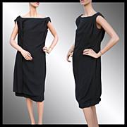 Vintage 60s Little Black Dress // 1960s Draped Crepe Off the Shoulder Ladies Size Large