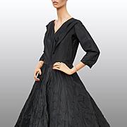 Vintage 50s Black Silk Taffeta New Look Dress // 1950s Gown Ring Puckered Skirt Ladies Size Medium