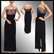 Vintage 1960s Black Crepe Dress - Pink Pleated Net Bodice - M