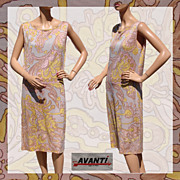 Vintage 60s Mod Psych Dress // 1960s Avanti Made in Italy Shift Style Ladies Size Large 12