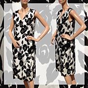Vintage 60s Embossed Velvet Dress // 1960s Black Roses on White Silk Ladies Size M / L