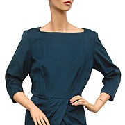 Vintage 1950s Teal  Blue Wool Dress - Sophisticated 50s -  Koupy Model Dress - Salon Vendome Simpsons Ladies Size Large 12