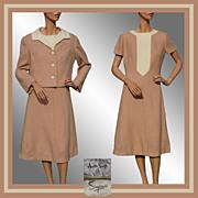 Vintage 60s Auckie Sanft Dress // 1960s Wool with Matching Jacket Simpsons Salon Vendome Ladies Size  L
