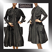 Vintage 50s Christian Dior New Look Dress // 1950s Black Silk Taffeta Ladies Size Medium