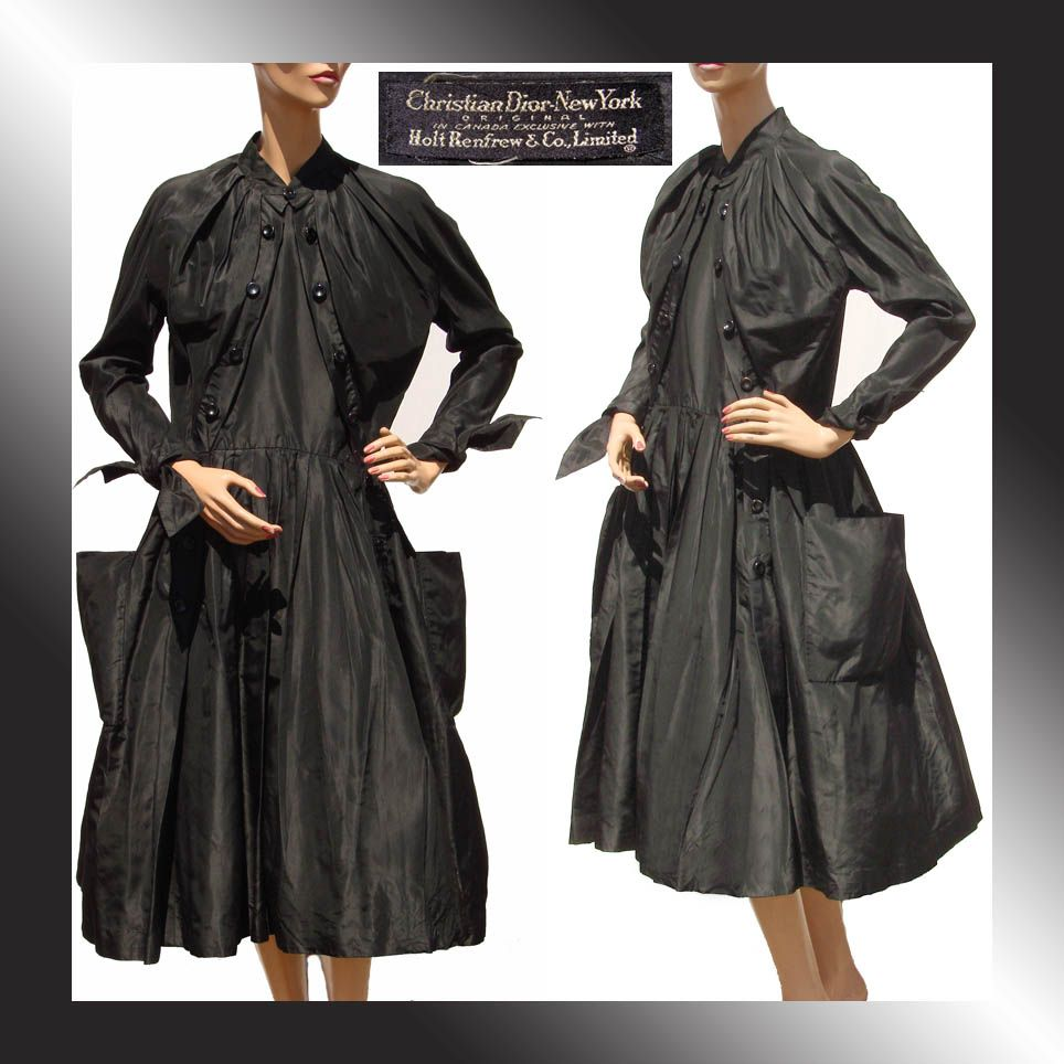 Vintage 50s Christian Dior New Look Dress // 1950s Black Silk Taffeta Ladies Size Medium