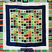 Vintage John Weitz Color Block Silk Scarf // 1960s 70s Bright Colors