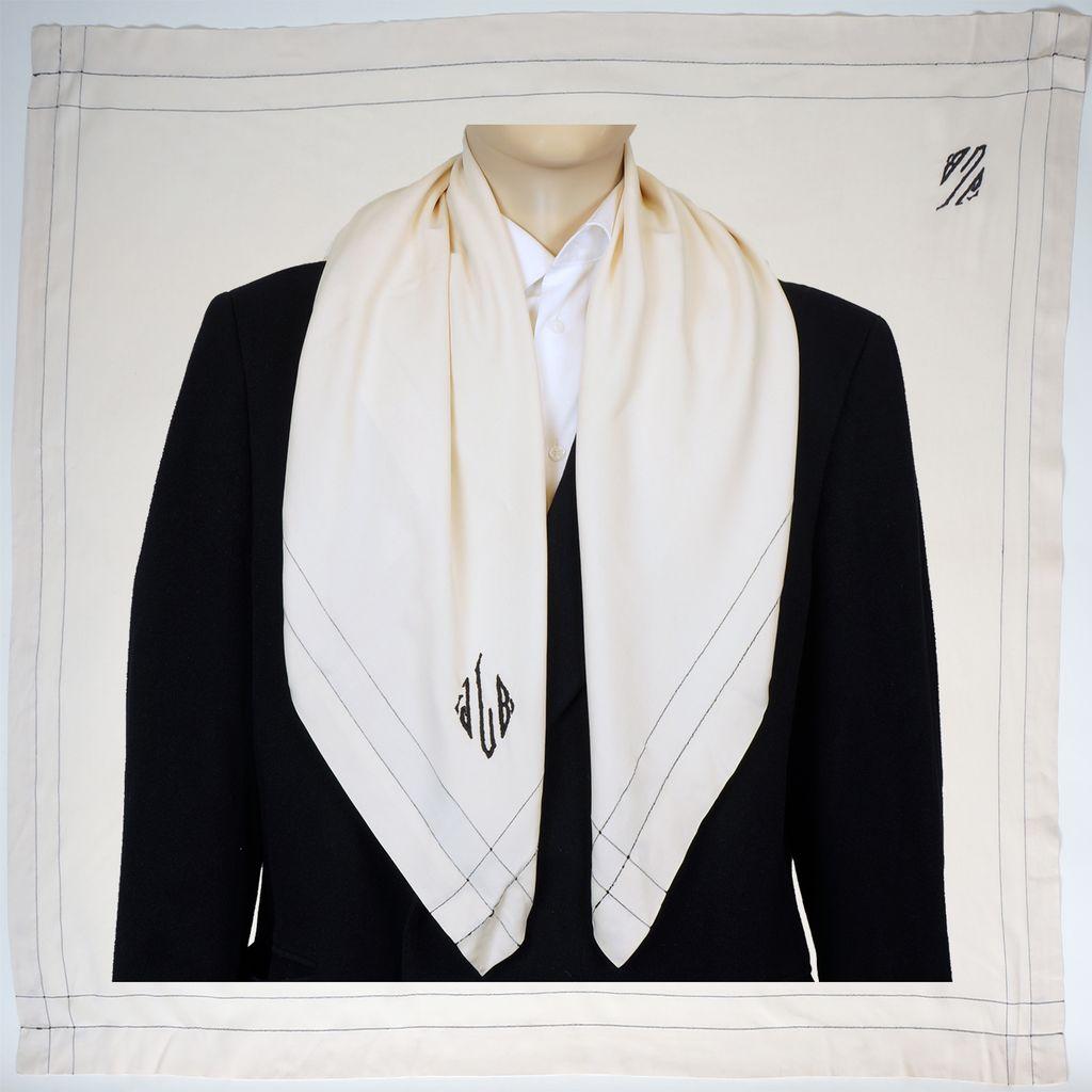 Vintage 20s Mens Silk Opera Scarf  1920s Art Deco Monogrammed White Foulard Exceptional