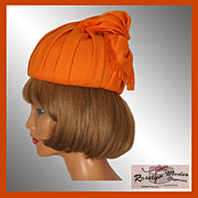 Vintage 60s Orange Turban Hat // 1960s Roselyn Modes Montreal Size S / M