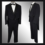 Vintage 50s Formal Tailcoat Tuxedo Suit - Size L