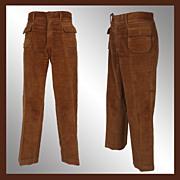 """Vintage 60s Mod Mens Pants // 1966 Brown Cotton Velour Trousers Mens Size M 35"""" Waist"""