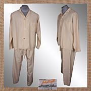 Vintage 60s Ivory Silk Pajamas // 1960s Pyjamas John Forsyth 100% Pure Silk Mens Size M / L