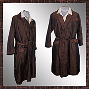 Vintage 1950s Dressing Gown Woven Brocade Lounging Robe Bronze Color Mens Size M / L