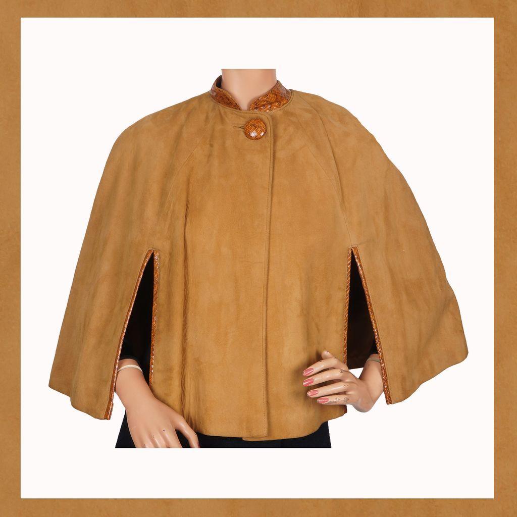 Vintage 60s Suede Leather Cape Ladies Capelet  Size S / M